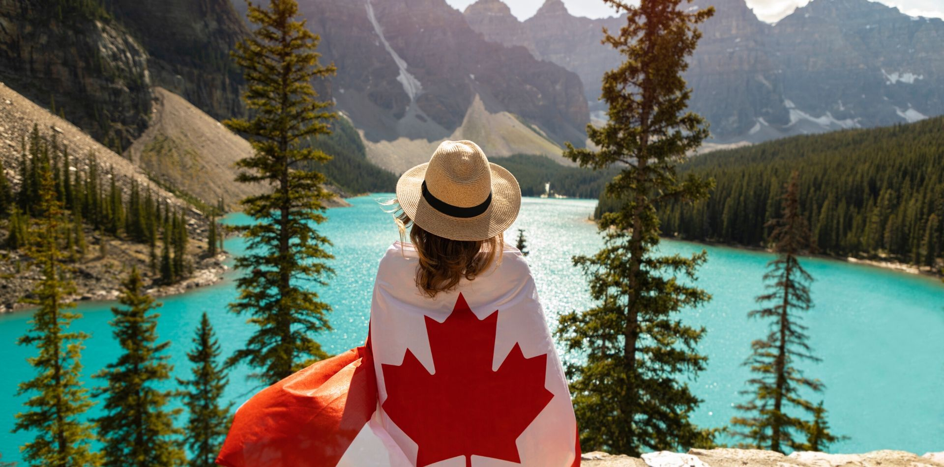 North America Canada Rockies Alberta Banff Lake Moraine Louise mountain flag maple leaf - luxury vacation destinations