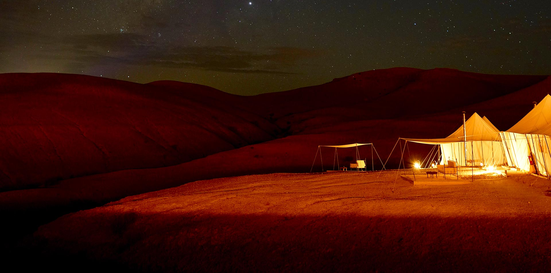 Africa Morocco Agafay Desert Scarabeo Camp bright white tents beautiful starry night sky - luxury vacation destinations