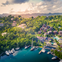 Latin America Caribbean West Indies St. Saint Lucia Aerial view of Marigot Bay and harbor - luxury vacation destinations