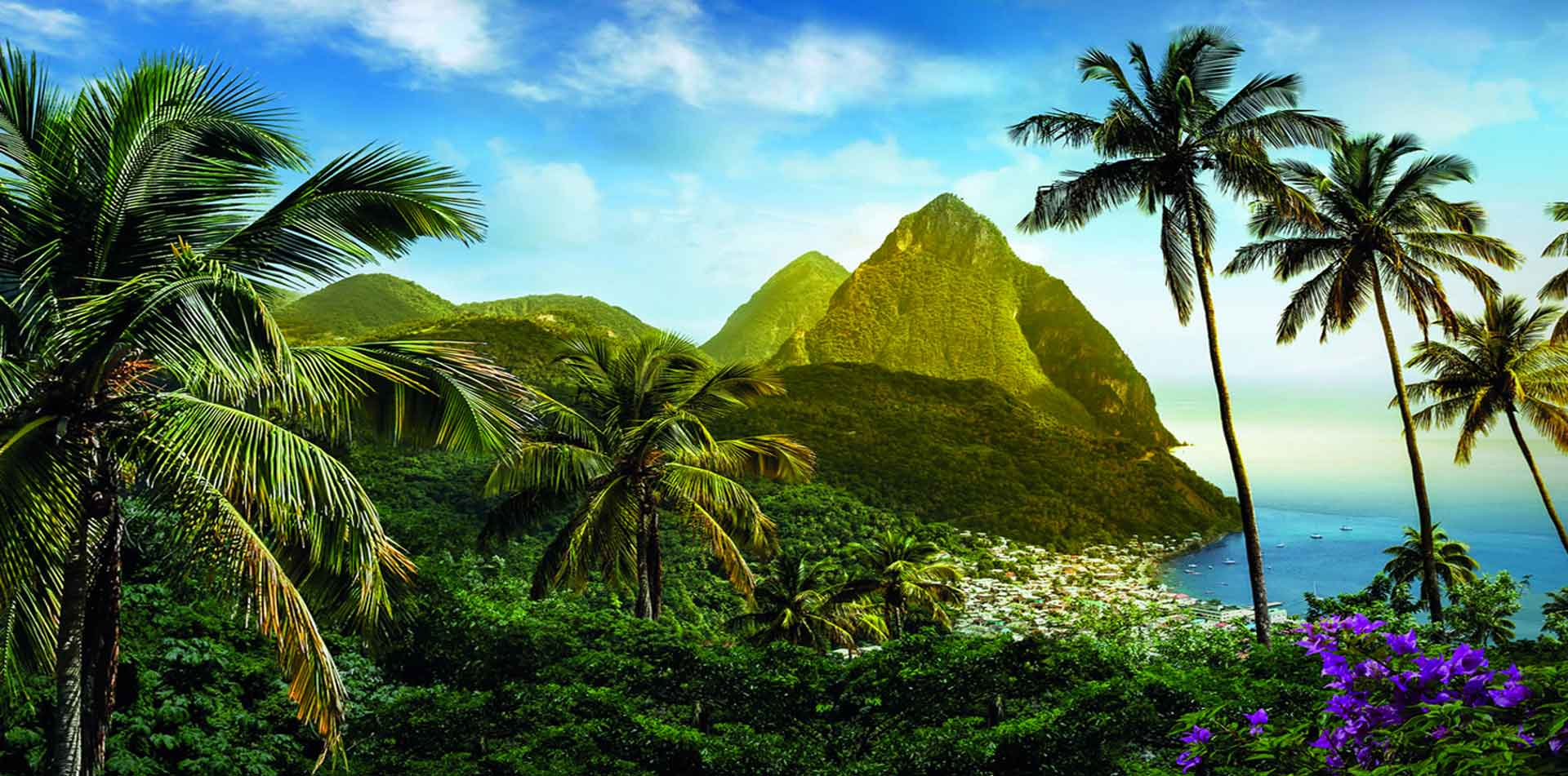 Latin America Caribbean St. Lucia scenic Pitons lush mountains tropical landscape - luxury vacation destinations