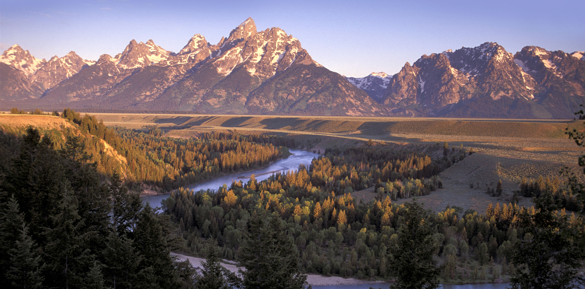 North America USA U.S. National Park Wyoming Grand Teton National Park Landscape Mountain River Forest