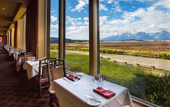 North America United States Wyoming Jackson Lake Lodge Hotel Dining Room Scenery