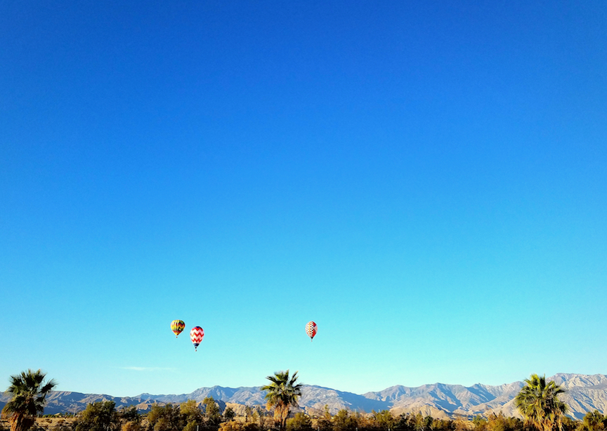 Hot air balloon over Coachella Valley