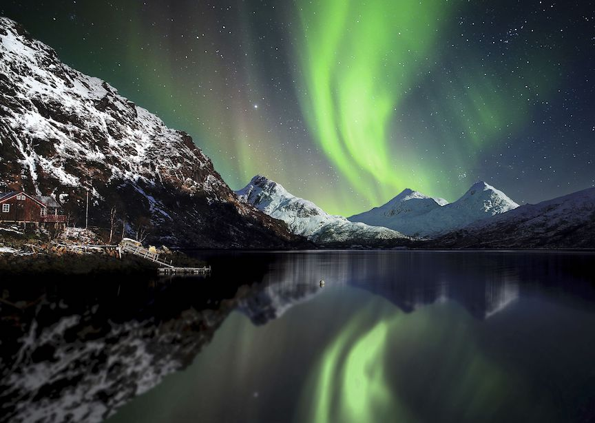 Norway Nordland Lake and Mountain Northern Lights Starry Night Sky