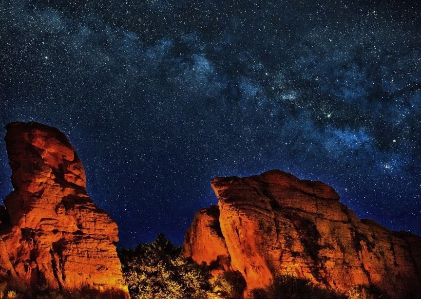USA Grand Canyon red rocks at night with starry skies and Milky Way
