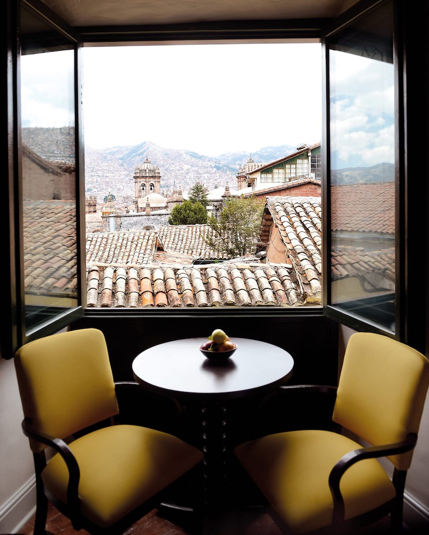 Peru Cusco Hotel Monasetrio Belmond Chairs at Window