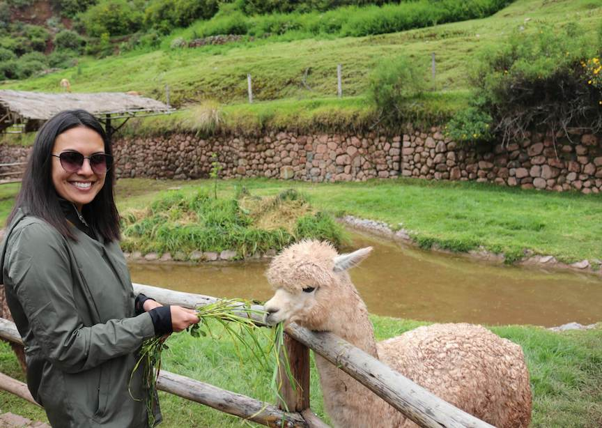 Female traveler with sunglasses smiling with a llama in Peru